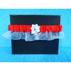 Свадебная подвязка простая с юбочкой (красная)