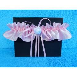 Свадебная подвязка простая с юбочкой (атлас розовая)