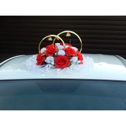 """Кольца авто """"Розы"""" бело-красные"""