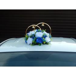 """Кольца авто """"Розы"""" бело-синие"""