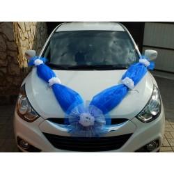 """Лента авто """"Волна с цветами"""" (синяя)"""