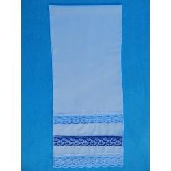 Рушник с кружевом (150х35) синий
