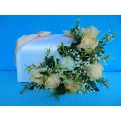 """Коробка для денег """"С цветами"""" (розы) бело-персиковая"""