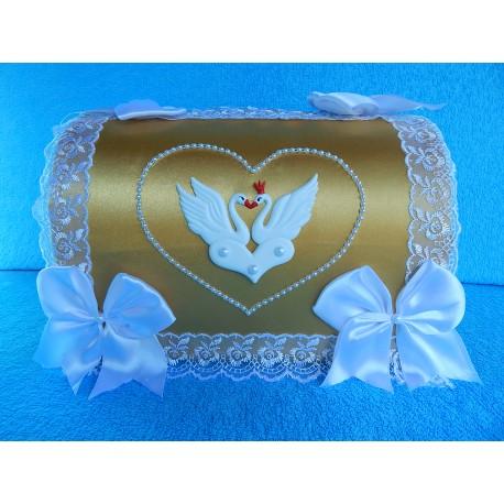 """Коробка для денег """"Сундучок с лебедями"""" золотой"""