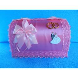 "Коробка для денег сундучок ""Молодожены"" розовый"