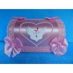 """Коробка для денег """"Сундучок с лебедями"""" розовый"""