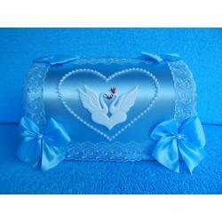 "Коробка для денег ""Сундучок с лебедями"" голубой"