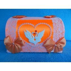 """Коробка для денег """"Сундучок с лебедями"""" оранжевый"""
