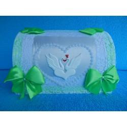 """Коробка для денег """"Сундучок с лебедями"""" бело-зеленый"""