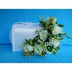 """Коробка для денег """"С цветами"""" (розы)  белая"""