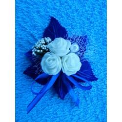 """Бутоньерка """"3 цветочка"""" (латекс) синяя"""