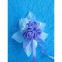 """Бутоньерка """"3 цветочка"""" (латекс) белая с сиреневыми розами"""
