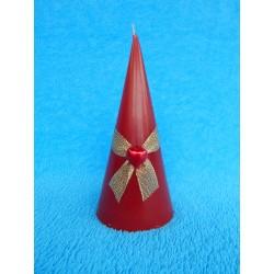 Свеча конус со стразой (64*148мм) красная