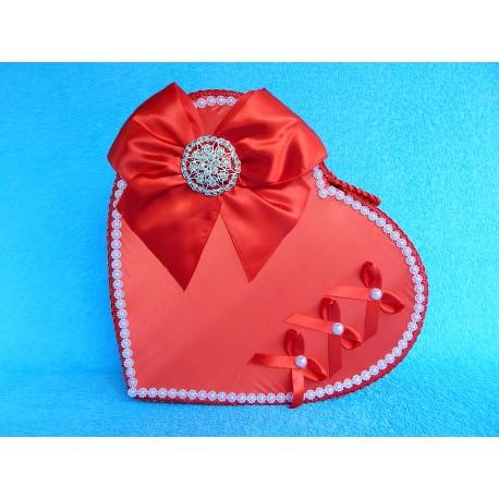 """Коробка для денег """"Сердце красное"""" бант с брошкой"""