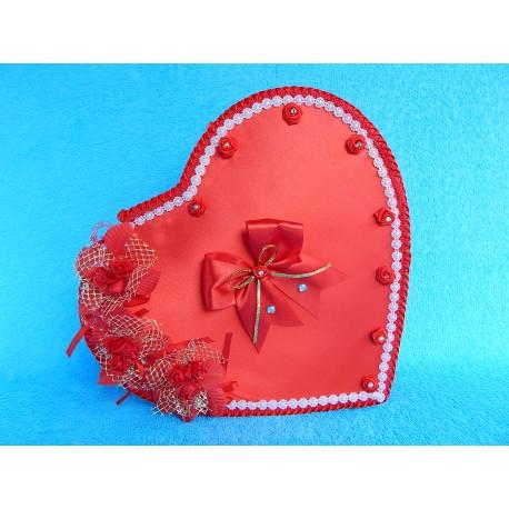 """Коробка для денег """"Сердце красное"""" букетики роз + бантик"""
