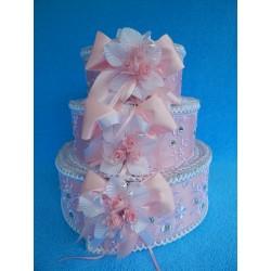 """Коробка для денег """"Тортик"""" розовый с цветами и бантами"""