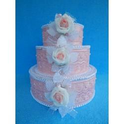 """Коробка для денег """"Тортик"""" розовый с большой розой"""