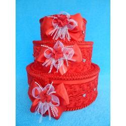 """Коробка для денег """"Тортик"""" красный с цветами и бантами"""