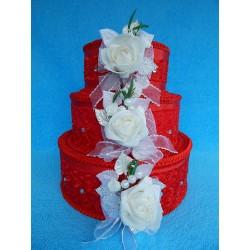 """Коробка для денег """"Тортик"""" красный с большой розой"""