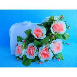"""Коробка для денег """"С цветами"""" (розы) бело-ярко розовая"""