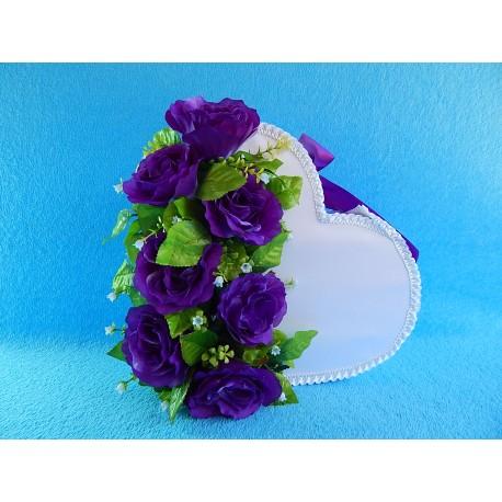 """Коробка для денег """"Сердце"""" с цветами (розы) фиолетовая"""