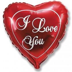 "Сердце 9/23см ""I LOVE YOU"" (красное)"