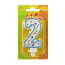 "Свеча-цифра ""2"" цветное конфетти (голубая)"