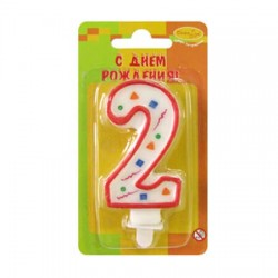 "Свеча-цифра ""2"" цветное конфетти (красная)"