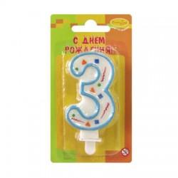 "Свеча-цифра ""3"" цветное конфетти (голубая)"