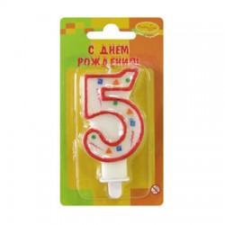 "Свеча-цифра ""5"" цветное конфетти (красная)"