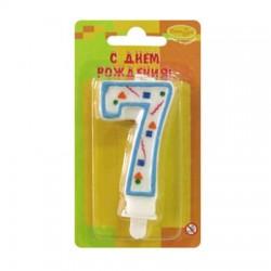 "Свеча-цифра ""7"" цветное конфетти (голубая)"