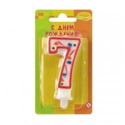 "Свеча-цифра ""7"" цветное конфетти (красная)"