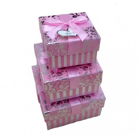 """Набор коробок 3 в 1 """"Витки"""" блеск (розовый)"""