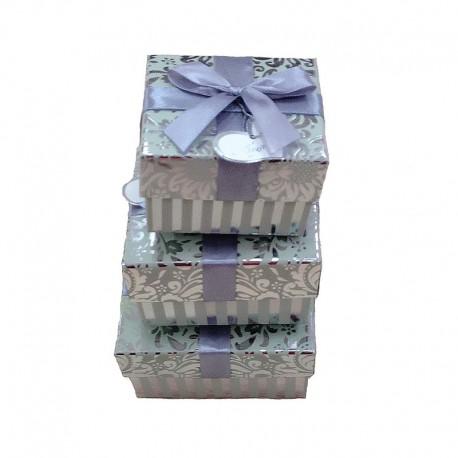 """Набор коробок 3 в 1 """"Витки"""" блеск (серебряный)"""