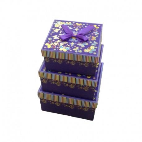 """Набор коробок 3 в 1 """"Цветы-бабочки"""" (фиолетовый)"""