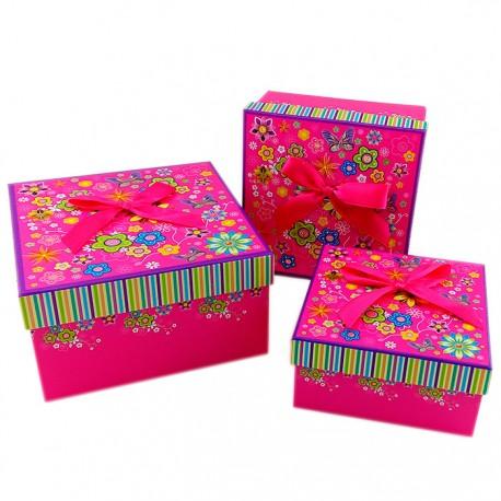 "Набор коробок 3 в 1 ""Цветы-бабочки"" (фуксия)"