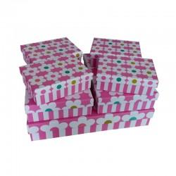 """Набор коробок 7 в 1 """" Крупные цветочки"""" (розовый)"""
