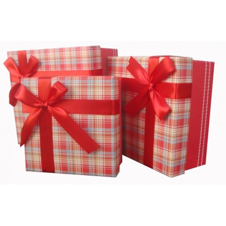 """Набор коробок 3 в 1  """"Стильный принт"""" (красный)"""