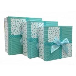 """Набор коробок 3 в 1 """"Цветочки"""" (бирюзовый)"""