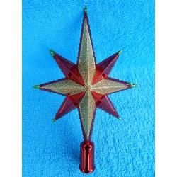 Звезда на елку красно-золотая  (пластик)