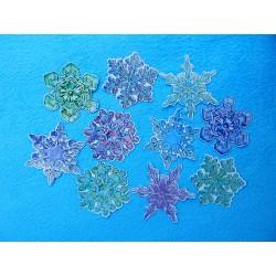 Снежинки на скотче цветные  (набор 10шт.) d-15см бумажные