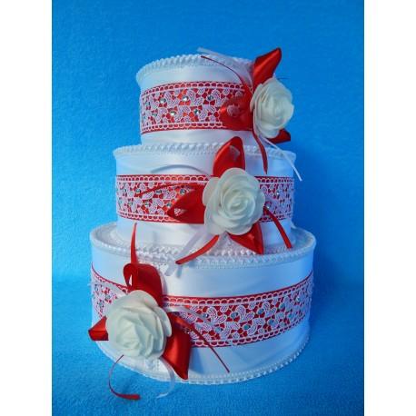 """Коробка для денег """"Тортик"""" бело-красный  в кружеве"""