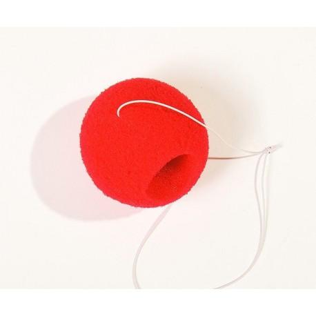 Нос клоуна на резинке паралоновый (красный)