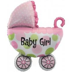Фигура коляска розовая 42/107см