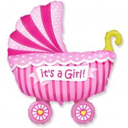 Фигура коляска розовая в полоску 40/102 см