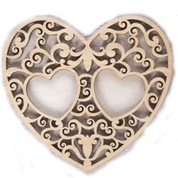 """Подставка под кольца """"Резное сердце"""" деревянная"""