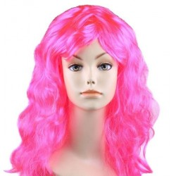 """Парик длинный """"Ярко-розовый"""" волнистый волос"""