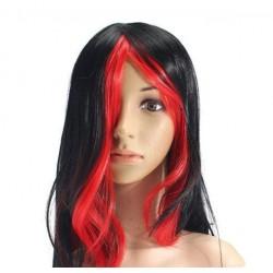 """Парик длинный """"Чёрный с красными прядями"""" прямой волос"""
