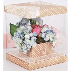 Коробка для цветов с вазой и PVC-окнами складная «Для тебя», 23 × 30 × 23 см